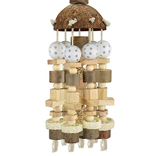 Desire Sky Juguete grande para masticar loros en troncos de madera para pájaros de madera de bloques de madera para masticar pájaros, juguetes para cacatúas loros