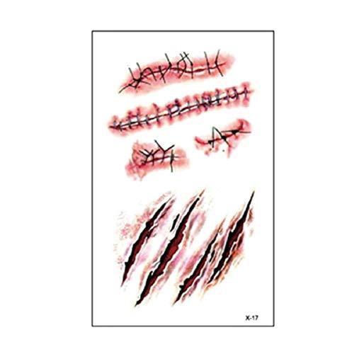 Monllack Pegatinas de Maquillaje Tatuaje, Halloween Zombie Scars Tattoo Stickers Decoraciones de Halloween Falsas heridas Horror Blood Scarf Stickers (Rojo)