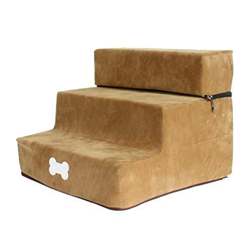 Sofá para perro, extraíble de espuma de alta densidad para perros de 3 peldaños con cubierta lavable y con cremallera, escalera para mascotas para perros y gatos