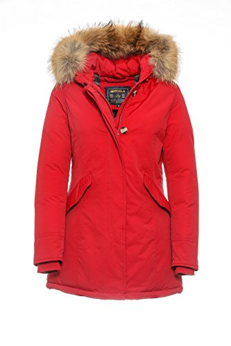Basic.de Damen-Parka Echtfell Winter-Jacke Rot M