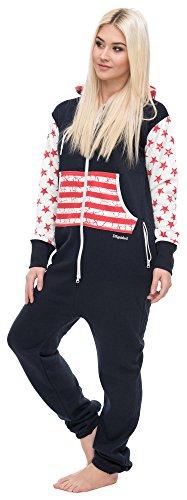 Loomiloo® Jumpsuit Freizeitanzug Overall Hausanzug Einteiler Strampler Anzug Pyjama Sonntag (XS, USA Dunkelblau)