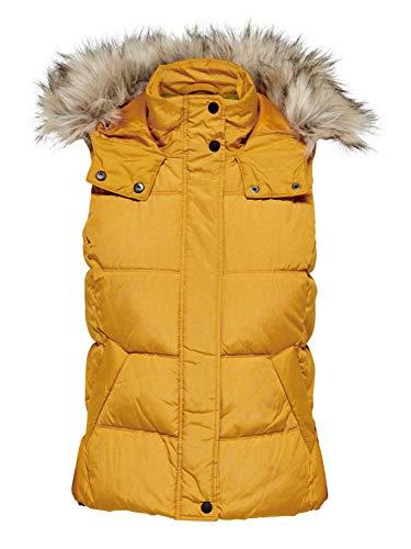 ONLY Damen Weste mit Fell-Kapuze onlNorth 15183616, Größe:S, Farbe:Gelb