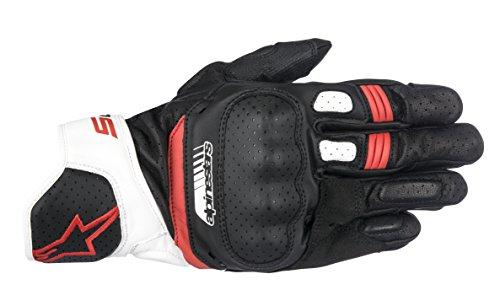 Alpinestars 1694360203 Motorrad Handschuhe, Schwarz/Weiss/Rot, L