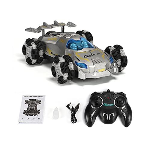 1/12 2.4GHz High Speed RC Car 4 Canales Velocidad Gran Stunt Coche Drift Music Light 360 Grado Flip Remote Control Toy Car,Plata