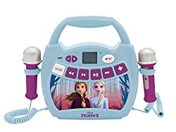 Aux-In jack, USB and TF slots (32 GB) to listen to your music from your external audio devices. Operates wires sly with your Bluetooth-equipped devices. 2 microphones included to sing on your favourite songs with Elsa and Anna. Transform your voice f...