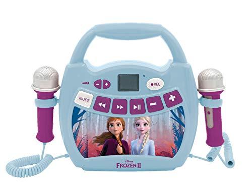 Lexibook MP300FZZ Disney Frozen 2 ELSA, Anna-Mein erster Musikplayer mit 2 Spielzeugmikrofonen, kabellos, Aufnahmefunktion, Stimmeneffekt, Blau/Lila