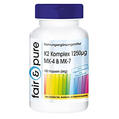 K2 Complex 1250µg, contains menaquinone MK-4 & menaquinone MK-7, vegan, 180 capsules, free from magnesium stearate and silicon dioxide by fair & pure