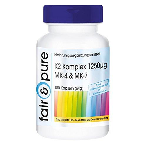 Vitamin K2 Capsules - 1250mcg - MK-4 & MK-7 - Vegan - 180 Capsules