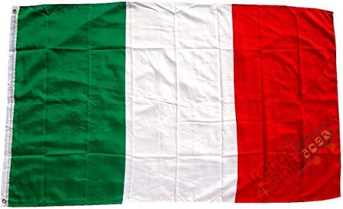 Qualité supérieure - Drapeau de l'Italie 250 x 150 cm - Extrêmement indéchirable - Pas de vaisselle en porcelaine pas chère Poids: environ 100 g / m2, très résistant, oeillets en laiton extra-forts