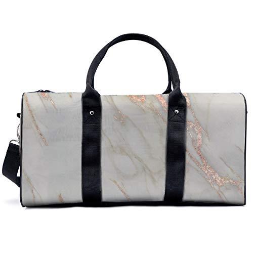 Sports Gym Bag,Marble Rose Gold Marble Metallic Blush Pink Handbag Yoga Bag Shoulder Tote Weekend Bag Travel Holdall Duffel Bag for Adult Men Women