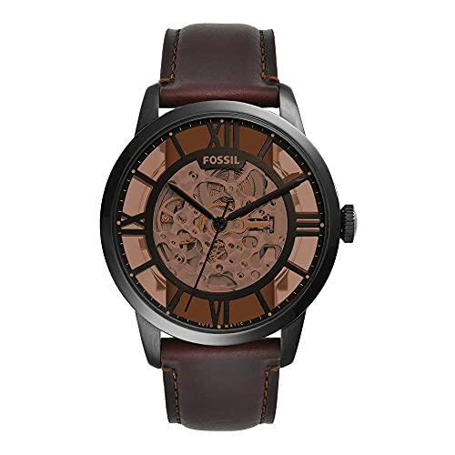 Fossil Men's Townsman Automatic Stainless Steel and Leather Three-Hand Watch, Color: Black, Cognac (Model: ME3098)