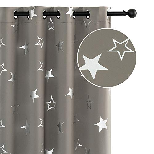 Anjee Blackout Curtains 45 inch Length Grey Stars Curtain Kids Room Darkening Window Drapes Thermal Insulated Drapery Gray Nursery Home Decoration Gifts, Space Grey 52x45 Inches