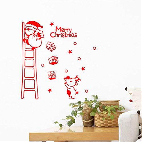 Muurstickers kerstmuur stickers, karikatuur-geschenk-kerstman statief trap kinderkamer slaapkamer achtergrond decoratieve muurstickers