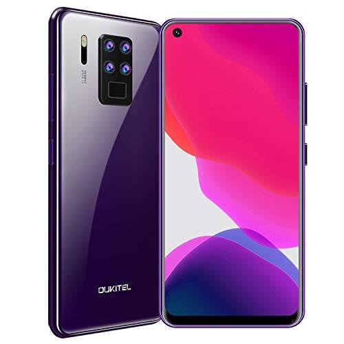 "OUKITEL C18 Pro Dual 4G Smartphone Libre,6.55"" FHD+ 20:9 Pantalla Completa,16MP Quad Cámara Trasera, 4GB RAM+ 64GB ROM Octa-Core Android 9 Teléfono Móvil, Batería 4000mAh, Face ID+Fingerprint(Púrpura)"