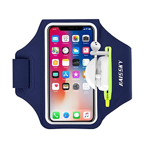 Handy-Armband mit Airpod-Tasche, Laufarmband für iPhone 11 Pro Max/XR 8 Plus/7 Plus, Galaxy S20+/S10/S9, schweißresistenter Sport-Telefonhalter mit Schlüsselhalter und Kartenschlitz, bis zu 6,7 Zoll