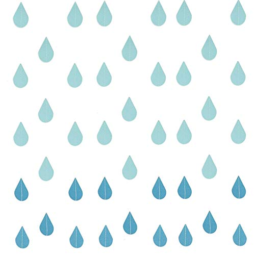 Timoo Raindrop Garland Decorations, Blue Paper Garland Decorations for Nursery Decor, April Showers, Baby Shower