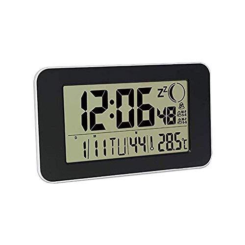 IG Auto Set Digital Wecker, 7 Zoll Großer Bildschirm Mit Zeit/Datum/Temperaturanzeige, Full-Range-Helligkeitsdimmer, Auto Dst-Einstellung, Wanduhr-Wandhalterung,Schwarz