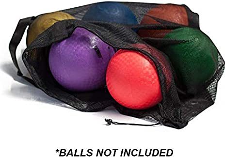 Soccer Volleyball Basketball Extra-Large Mesh Sports Ball Drawstring Bag Football Sports Equipment Bag with Adjustable Shoulder Strap for Gym Training Swimming