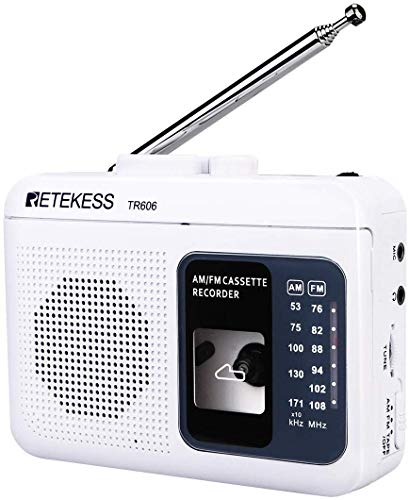 Retekess TR606 Portable Cassette Players Recorders, AM FM Radio Tape Player, Powered by DC or AA Battery with Recorder and AUX Input (White)