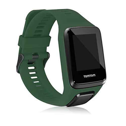 kwmobile Pulsera Compatible con Tomtom Adventurer/Runner 3/Spark 3/Golfer 2 - Brazalete de Silicona en Verde Oscuro sin Fitness Tracker