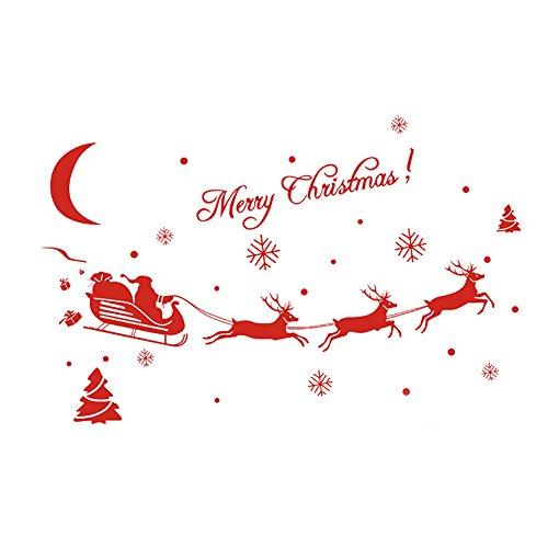 Demarkt Stickers Muraux Décoration de Noël Fenêtre Stickers Muraux Arbre Flocon Stickers Muraux Home Decor Elk Bricolage Main Décoration Autocollants Environnementaux pour Noël - 18 * 60cm