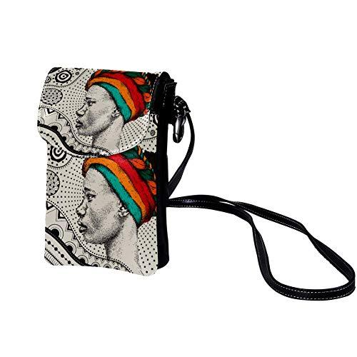 Xingruyun Bolso Bandolera para Celular Pequeño Pañuelo Mujer Africana Mini Billetera Multifunción Monedero Puede Caber Gafas de sol Teléfono móvil 19x12x2cm