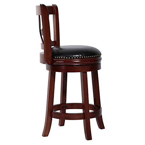 Amoyland Menis Counter Stool with Back, 24-Inch Height Upholstered-Nailhead Seat Swivel Barstool, Perfect for Pub and Kitchen Island Bar Stools - Cherry/Black (Cherry)