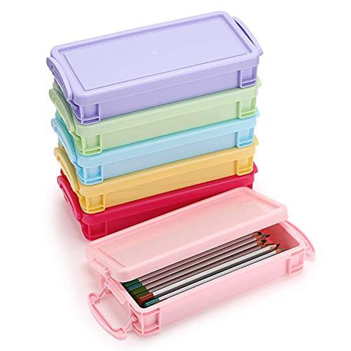 BSTKEY 6 Stück Bonbon-Farben stapelbare Stifteboxen – multifunktionale Aufbewahrungsbox aus Kunststoff für Zuhause und Büro, gelb, grün, hellrosa, blau, rosa, lila