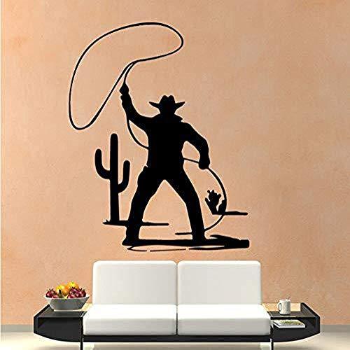 JXFM Entworfen für die Western Cowboy Muster kreative Skulptur Künstler Wohnzimmer Wandaufkleber 43x54cm