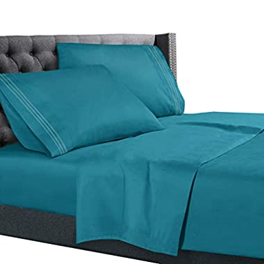 King Size Bed Sheets Set Teal, Bedding Sheets Set on Amazon, 4-Piece Bed Set, Deep Pockets Fitted Sheet, 100% Luxury Soft Microfiber, Hypoallergenic, Cool & Breathable