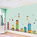 HorBous Pegatina de Pared Globo Aerostático Animal Ciudad Pegatinas Decorativas Adhesiva Pared Dormitorio Salón Guardería Habitación Infantiles Niños Bebés