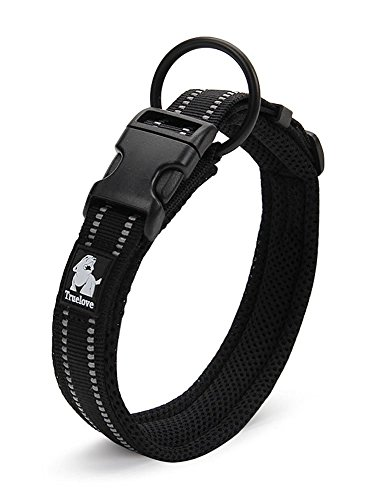 Rantow Cuello de Perro Fuerte Transpirable Collar de Perro de Seguridad Ajustable cómodo para Perros pequeños/medianos/Grandes (Negro) (XL 50-55cm)