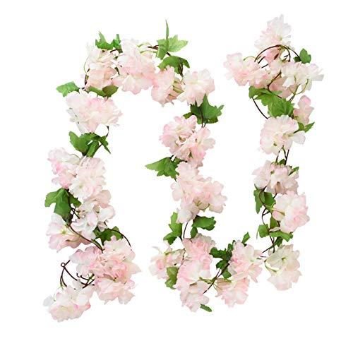 FIRMLEILEI Flores Artificiales 2.3M Wisteria Flores Artificiales Flores de Cerezo Vid Colgando Flores Ivy Flor String Guirnalda Pared Rattan Boda Decoración Accesorios de fotografía