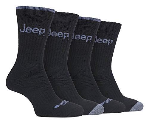 JEEP - 4 Pares Hombre Antiampollas Calcetines con Reforzados | Calcetines para Trekking Senderismo Montaña (39-45, Negro/Carbón)