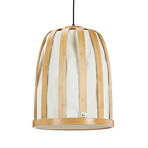 Relaxdays Hängelampe Bambus Gitter mit Stoff Lampenschirm, XXL Deckenlampe für Wohnzimmer, HxD 120 x 45 cm, creme
