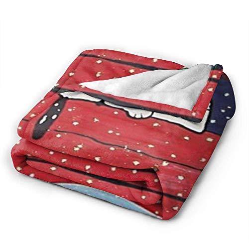 KNBNDB Sn-oopy Feliz Navidad Manta Gruesa para el Dormitorio del hogar Interior al Aire Libre Camping Mujeres Hombres niños niñas Regalos 80x60 Pulgadas-YZ