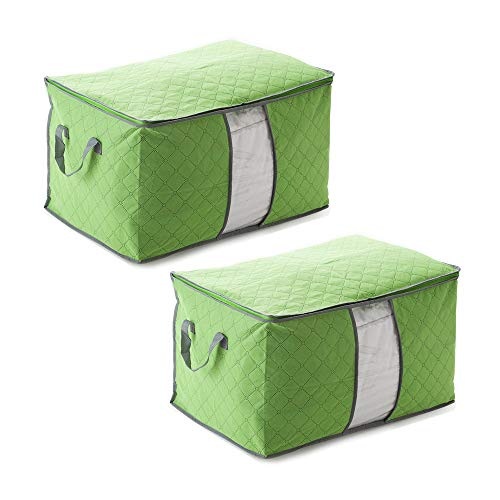 YCUDS 2 Pack Large Capacity Duvet Clothes Storage Bag,With Zipper Thick Handle Clear Window,Foldable Organizer Bags is Used to Store Comforters, Blankets, Bedding. (Green)