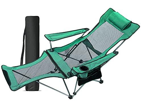 アウトドアチェア 折りたたみ リクライニングチェア キャンプ 角度調整 耐荷重130kg 枕/カップホルダー/収納バッグ付き 持ち運び便利 室内/アウトドア用 お釣り 登山 (Green)