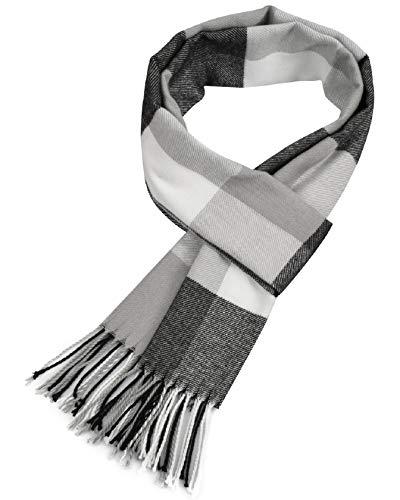 Tuopuda Foulard Uomo Invernale Sciarpa Tartan Calda Termica Morbidissima di lana di Cashmere Touch Scialle Sciarpa
