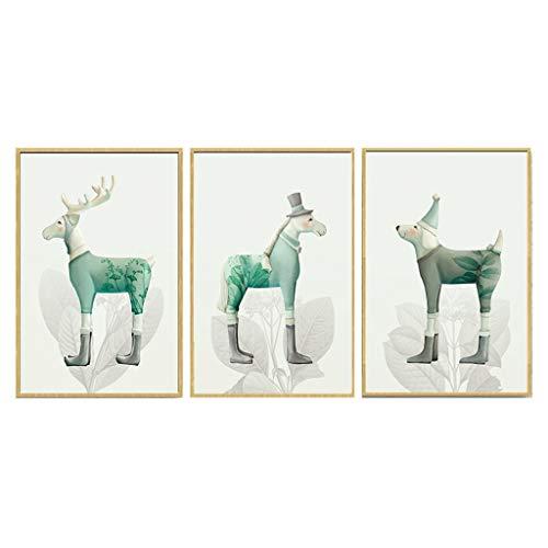 HHGO 3 stuks canvas wanddecoratie wandset, cartoon dier eland kinderen muurkunst decoratie voor woonkamer slaapkamer keuken kantoorhal, houten frame klaar om op te hangen