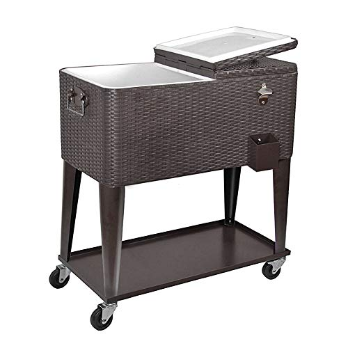 Clevr 80 Quart Qt Rolling Cooler Ice Chest Cart for Outdoor Patio Deck Party, Dark Brown Wicker Faux Rattan Tub Trolley, Portable Backyard Party Drink Beverage Bar, Wheels with Shelf & Bottle Opener