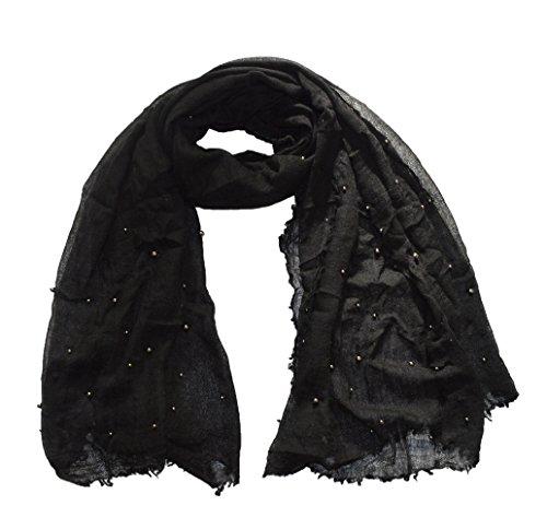 Wigwam accessories Luxe Haute qualité Mélange de Laine Perle détail Écharpe Châle Noir