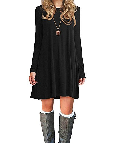 Durio Damen Einfaches Kleider Basic Casual A-Linie Skaterkleid Freizeit Kleider Fließendes Kleid Langarm Beiläufige Shirt Lose Rundhals Tunika Schwarz EU 42(Tag L) B