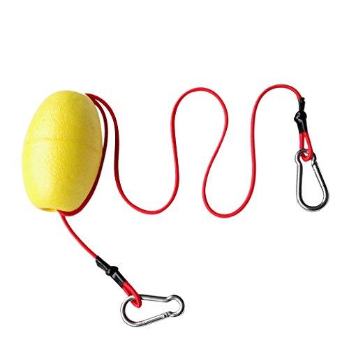 MagiDeal Kayak Tow Throw Linea Accesorios Flotantes Leash Cinturón Correa Deportes Acuàticos de Acero Inoxidable - Amarillo + Rojo