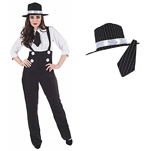 Fun Shack Schwarzes Gangsterbraut Kostüm für Damen, 20er Jahre Mafia Kostüm, Faschingskostüm - M