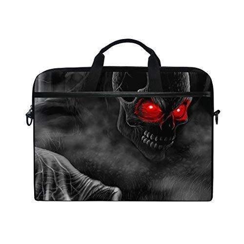 FOURFOOL 15-15.6 Inch Bolsa de Ordenador,Feliz Halloween Diablo Negro,Nuevo Patrón de impresión portátil Hombro Bolsa maletín portátil de Ordenador portátil Caso