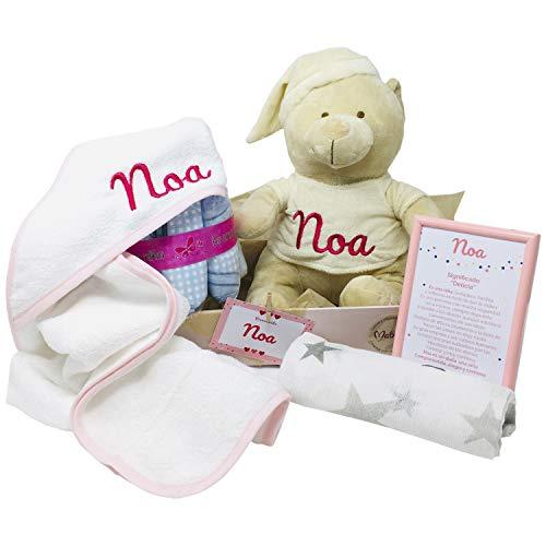 Mabybox Caricias, regalo original para bebé con capa de baño, toalla de recién nacido y oso de peluche personalizado con el nombre del bebé… (Rosa)