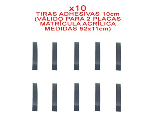 10 TIRAS ADHESIVAS DOBLE CARA PARA FIJAR/PEGAR MATRICULA ACRILICA 52 x 11 cm METACRILATO COCHE SIN TORNILLOS KIT DE MONTAJE + INSTRUCCIONES