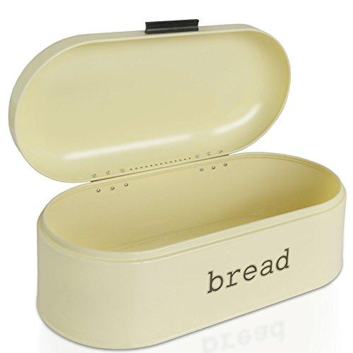 casa pura Brotkasten Karl | Brotbox im Retro Design aus Metall | optimale Luftzirkulation | Creme Beige – in Zwei Größen (B/T/H: 43,5x21x16,3 cm)