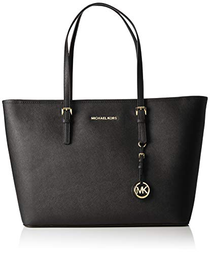 Zip-top leather tote featuring logo fob and adjustable shoulder straps Flat structured base